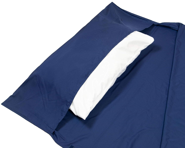 059 Bleu ZOLLNER Draps de Sac de Couchage en Microfibre 90x220 cm