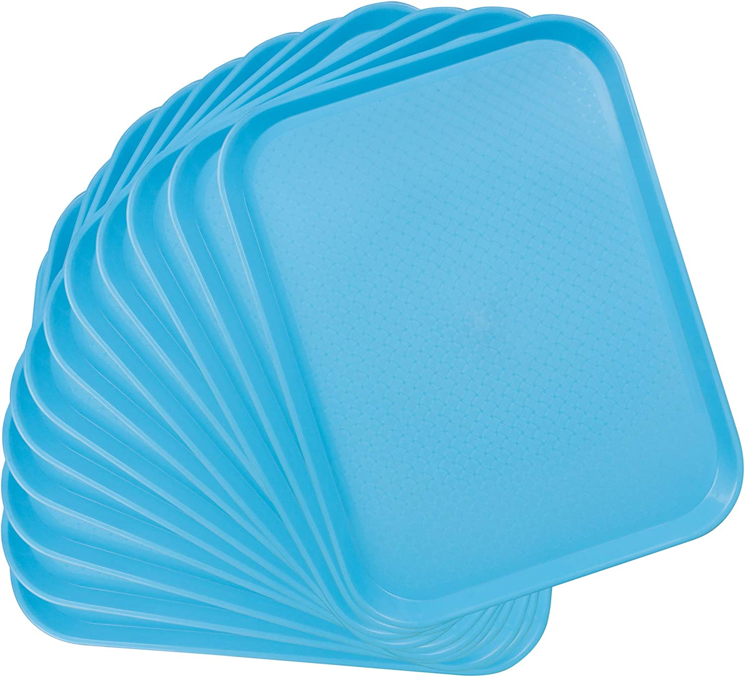 12-pack Fast Food Cafeteria Tray | Twelve 14 x 18 Rectangular Textured Plastic Food Serving TV Tray Multipack | School Lunch, Diner, Commercial Kitchen Restaurant Equipment (Blue)