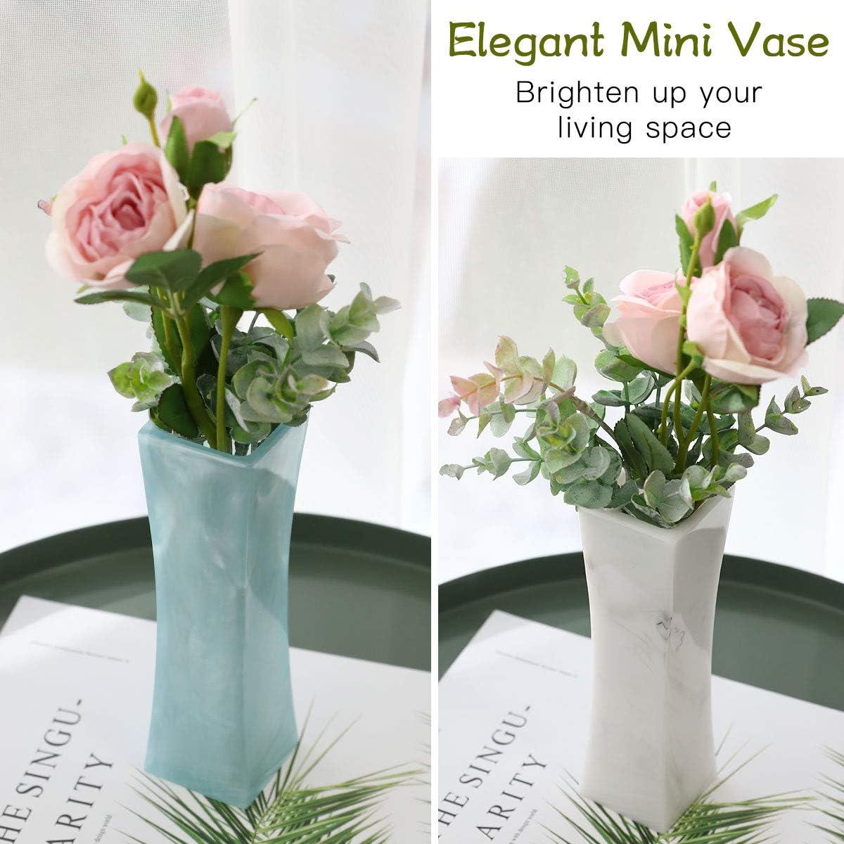 Gift Box Packed -Grey Pearl+White Pearl 2 Pack 7.1 Inch Elegant Curved Shaped Vase Flower Vase for Home Living Room Study Room Dining Room Tabletop Improvement Decor Lewondr Decorative Resin Vase,