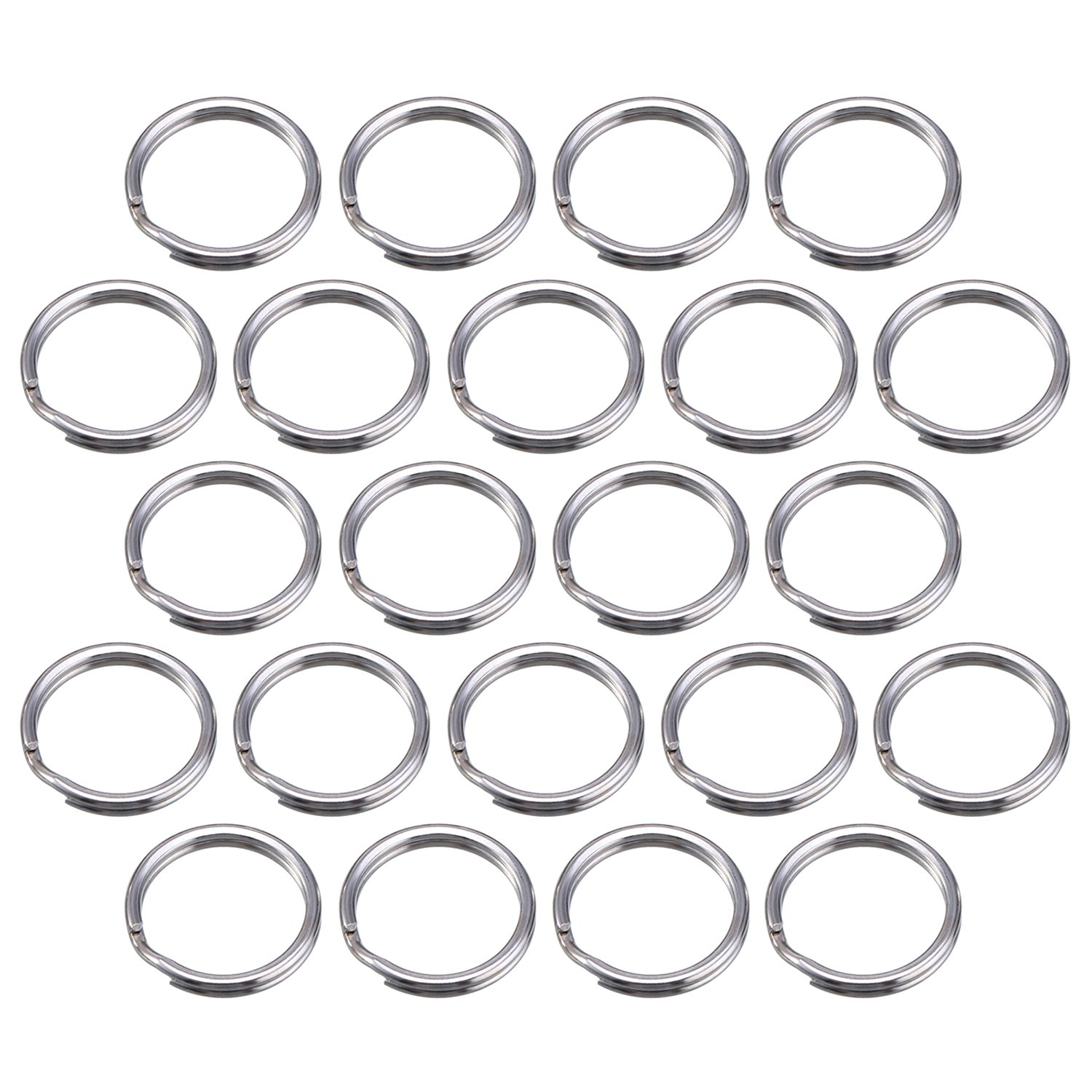 100 Pack Small Key Ring 15 mm Round Metal Split Rings for Home Keys Organization and Craft Making, Silver Bememo