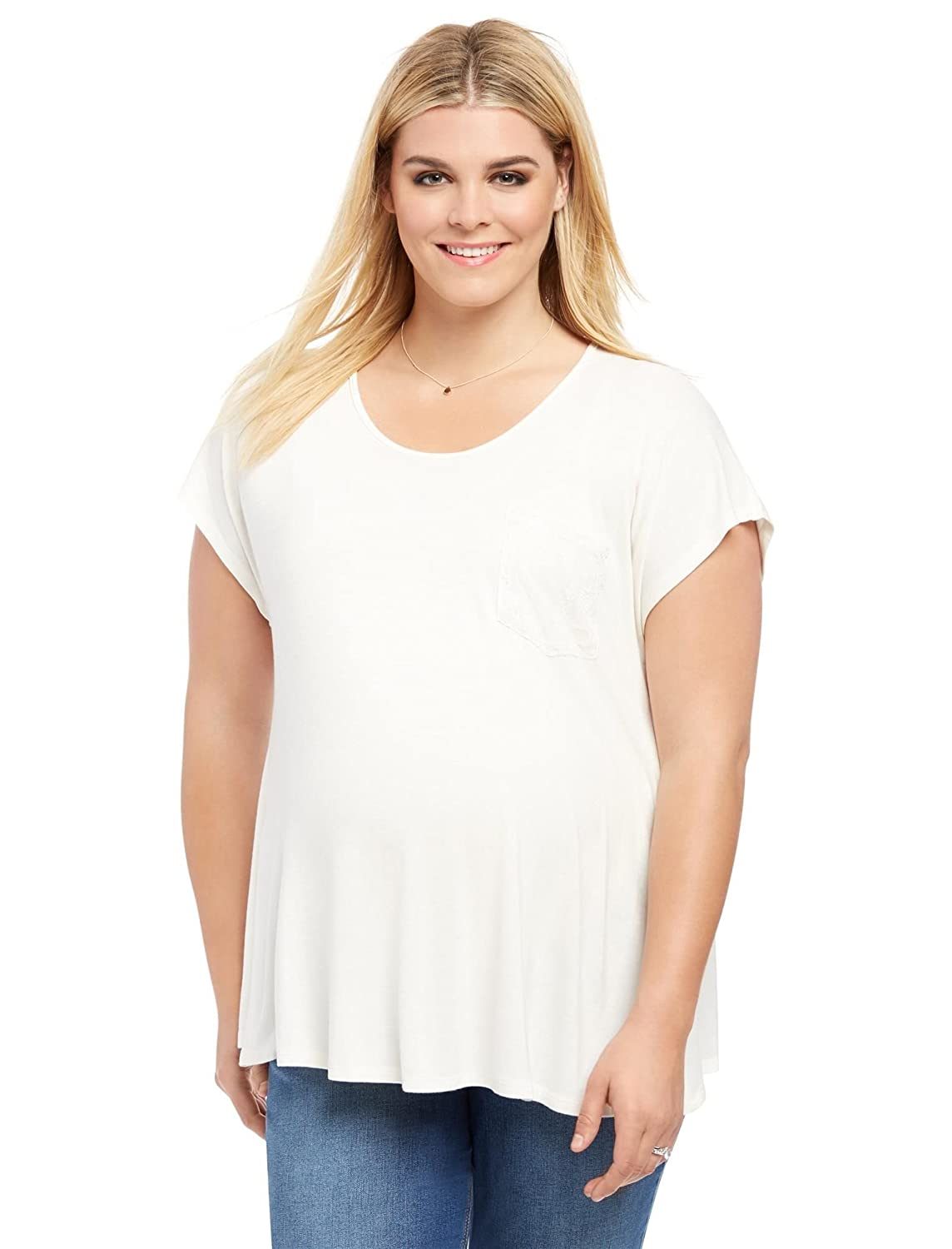 Motherhood Plus Size Lace Trim Maternity Top White 1X