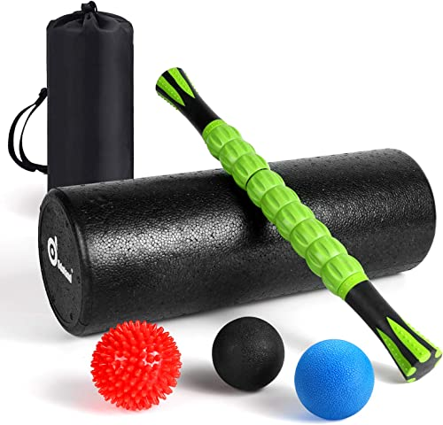 Odoland Foam Roller Set, Large 18 Muscle Foam Roller, Muscle Roller Stick and Massage Balls for High Density Physical Therapy Exercise, Deep Tissue Trigger, Pain Myofascial Relief Home Gym Set