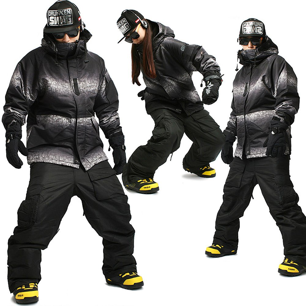 SOUTH PLAY Ski Snowboard Wear Suit Parka Jacket+Pants Trousers SET HIEROGLYPHIC+BLACK