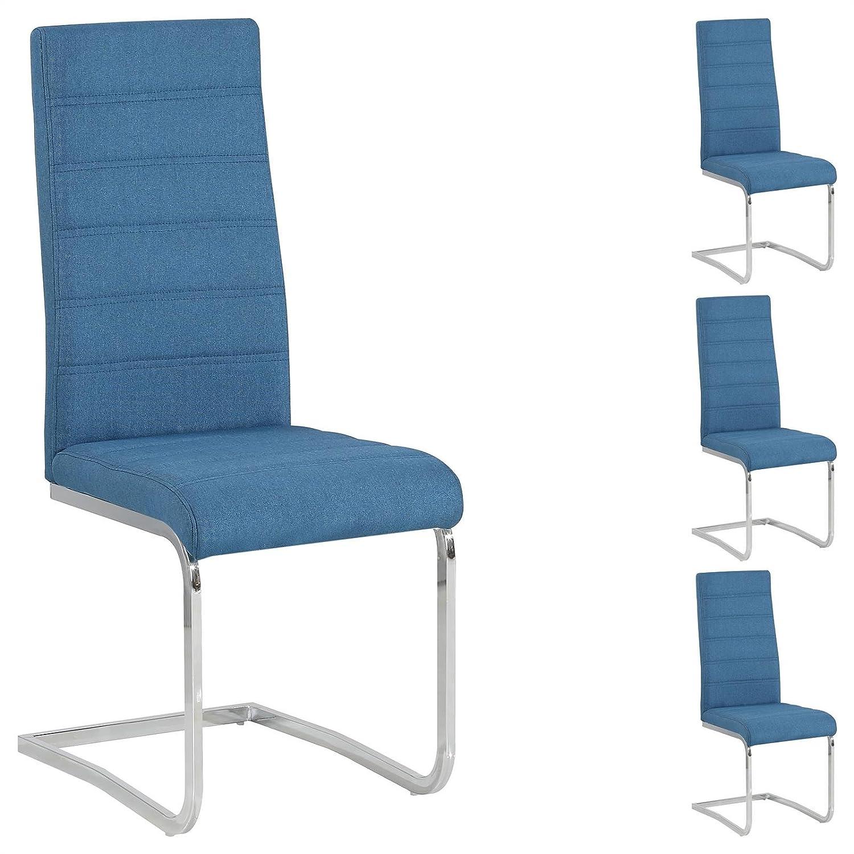 *4er Set Esszimmerstuhl Küchenstuhl Schwingstuhl MODESTO in blau.*