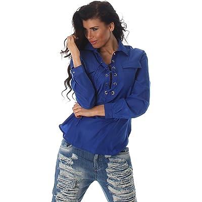 Voyelles Mesdames chemise blouse chemisiers tunique chemise longue blouse tunique col chandail à manches Uni