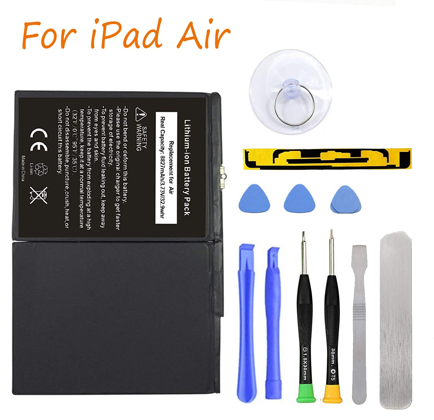 HDCKU New Battery for iPad Air Battery Replacement Kit for iPad 5 Generation A1474, A1475, A1476 with Full Set Installation Tools and Adhesive (365 Days Warranty)