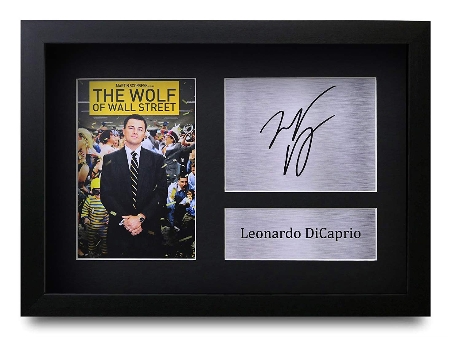 HWC Trading FR Leonardo DiCaprio Gift Signed FRAMED A4 Printed Autograph The Wolf of Wall Street Gifts Print Photo Picture Display