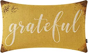 TRENDIN Farmhouse Fall Pillow Cover 20x12 inch Rusted Yellow Word Grateful Throw Pillow Cover for Autumn Decor Fall Decorations for Couch Sofa PL550TR