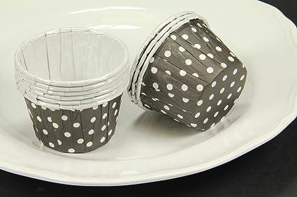 Desechables para cupcakes Mini moldes para cupcakes Baking Candy tuerca tazas negro y gris diseño de