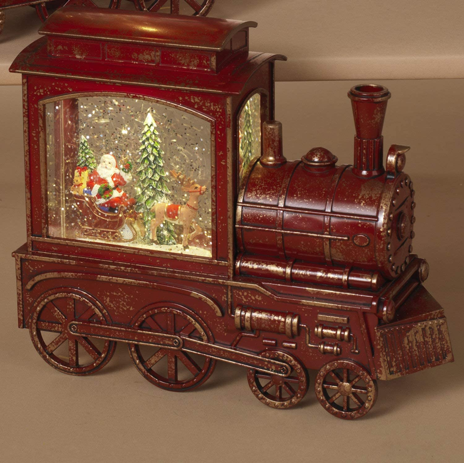 Lighted Red Train Christmas Snow Globe with Holiday Santa Scene and Timer – Light-Up Water Lantern Decoration – Tabletop Winter Home Decor with Festive Figurines