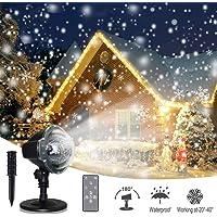 Proiettore Luci Natale, Proiettore Lampada LED Effetto Neve, Impermeabile IP44 Esterno/Interno, Bassa Tensione e Telecomando, per Decorazioni da giardino, Halloween Natale Festa e Matrimonio
