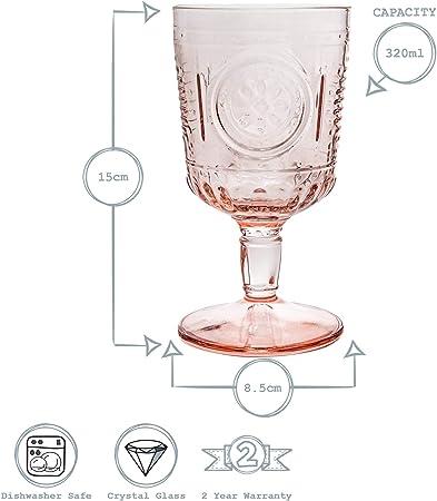 Bormioli Rocco Romantic - Juego de Copas para Vino - Diseño Italiano Tradicional - Rosa - 320ml - Pack de 6