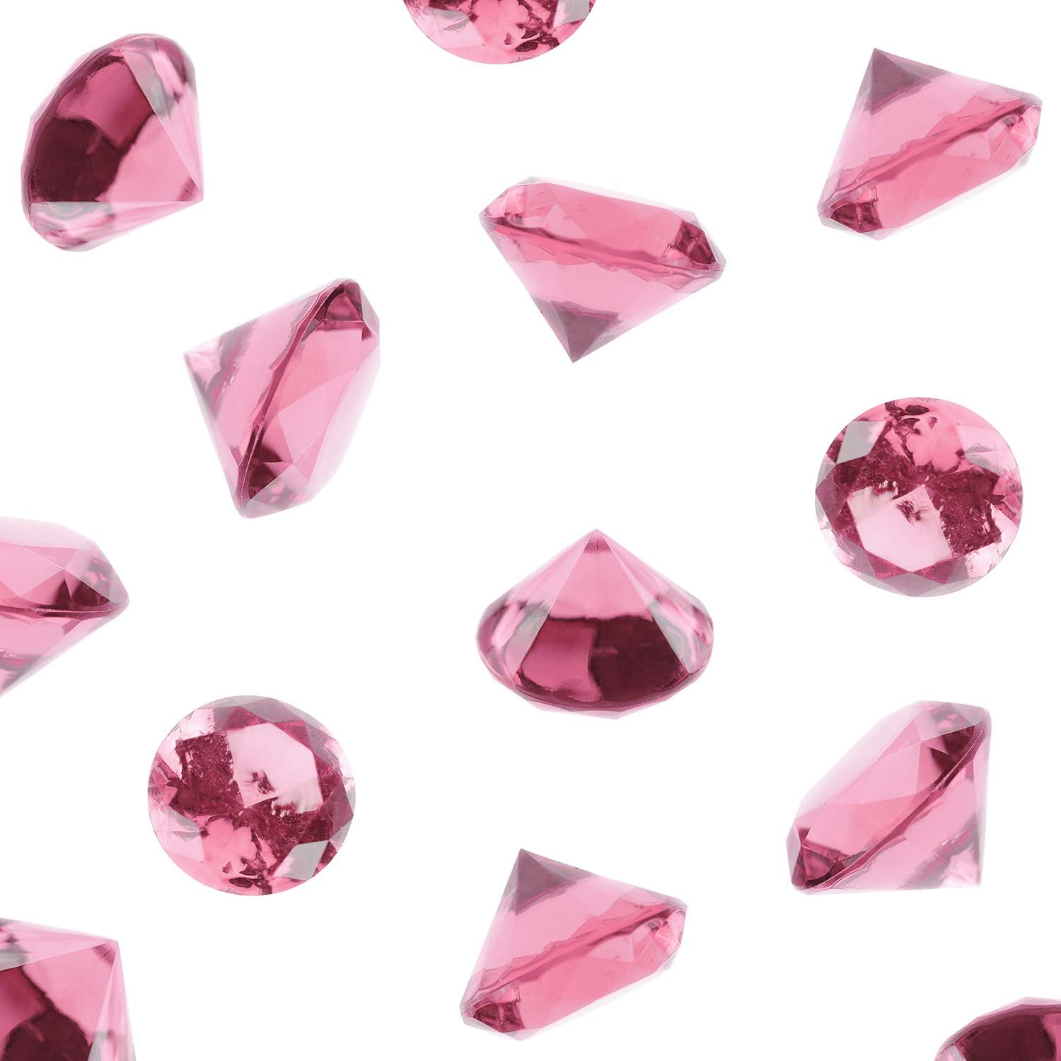 Super Z Outlet Acrylic Color Faux Round Diamond Crystals Treasure Gems for Table Scatters, Vase Fillers, Event, Wedding, Birthday Decoration Favor, Arts & Crafts (1 Pound, 240 Pieces) (Pink)
