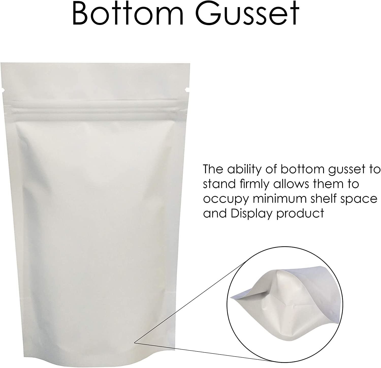 SP2-11cm x 17cm 7cm Rightpak bianco opaco alluminio stand Up tasche con cerniera e richiudibile tear notch per imballaggi alimentari 100QTY
