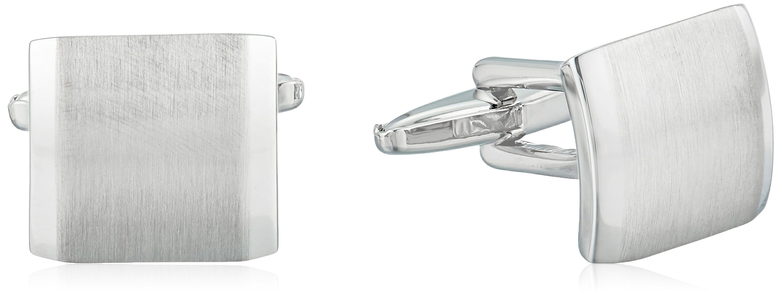 Kenneth Cole Reaction Men's Brushed Silver Cufflinks, Silver, One Size