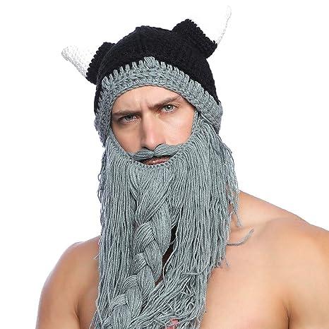 fa7e08e851e39 Tacobear Unisex Barba Sombreros Gorro con Barba de Vikingo Divertido  Sombreros Invierno Sombrero Tejido Caliente Sombreros
