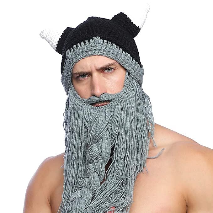 94a7a1d9ca4 Men Beard Hat Viking Pirate Cosplay Hat Winter Autumn Warm Funny Hat Fancy  Cosplay Knit Beanie Beard Mask for Skiing Winter Grey  Amazon.co.uk   Clothing
