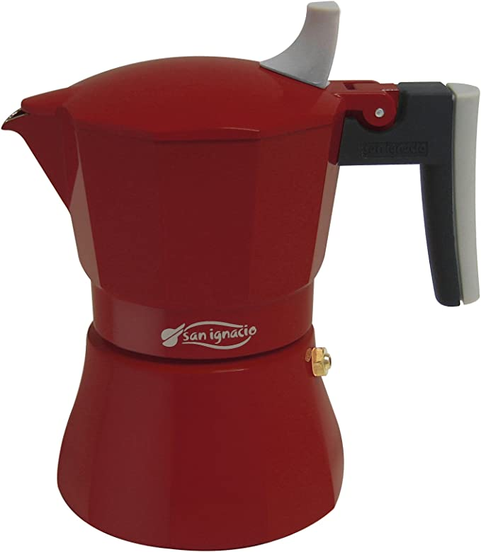 San Ignacio Dolce Vite Elegance – Cafetera 3 Tazas para fogón cafetera eléctrica, Aluminio Fundido, Color Rojo: Amazon.es: Hogar
