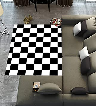 Custom Checkered Area Rugs Carpet,Black White Checkered Pattern Modern  Carpet Floor Rugs Mat For