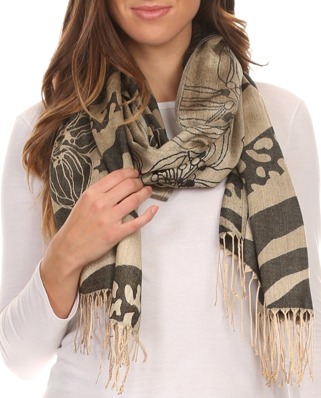 Reiley Long Wide Floral Printed Patterened Fringe Pashmina Shawl/Scarf