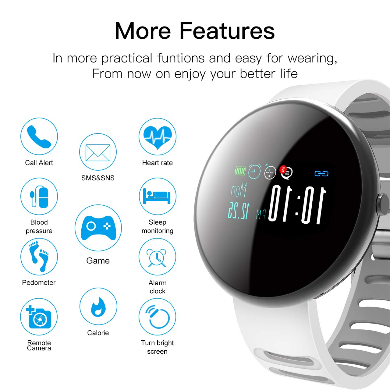 ROADTEC Fitness Tracker Smart Watches for Android, Bluetooth 4.0 Watch 5ATM IP67 Waterproof (White+Gray)