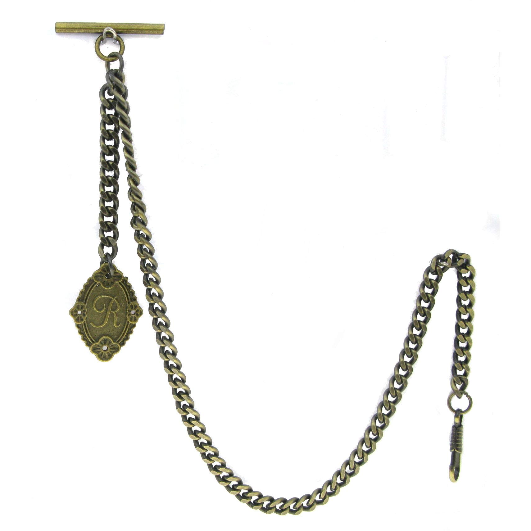 Albert Chain Pocket Watch Curb Link Chain Antique Brass Color + Alphabet R Initial Letter Fob T Bar AC90