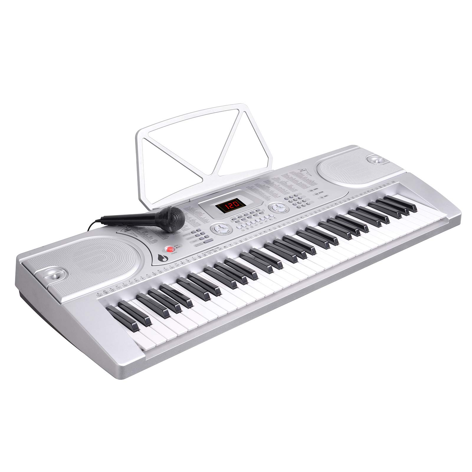 LAGRIMA 61 key Portable Electric Piano Keyboard,Starter Practice Keyboard Piano W/Music Stand, Power Supply and Microphone, Suit for Kids(Over 8 Years Old) Teen Adult Beginners, Silver by LAGRIMA