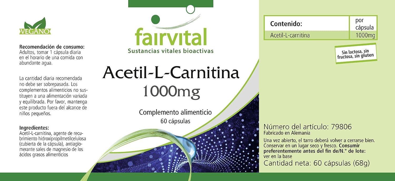 Acetil-L-carnitina 1000 mg - para 2 meses - VEGAN - ALTA DOSIS - 60 cápsulas - ALC: Amazon.es: Salud y cuidado personal