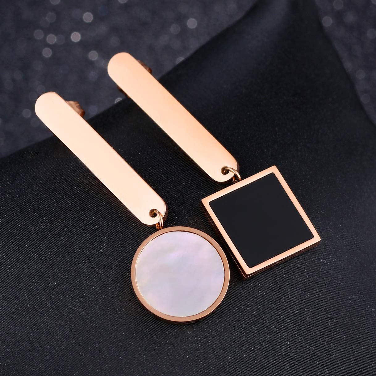 CHARMFAME Rose Gold Plated Stainless Steel Asymmetrical Drop Earrings Circle /& Square Geometric Dangle Earrings for Women /& Girls