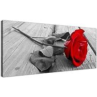 Wallfillers®, stampa su tela, in bianco e nero, di una rosa rossa; quadro floreale in tela, 1005