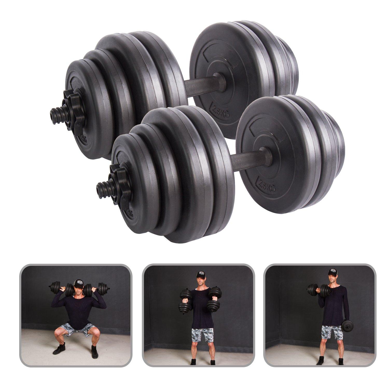 CCLIFE Banco de Pesas multifunción con sporte de Peso y Set de Barra Larga y Discos 60 kg: Amazon.es: Deportes y aire libre