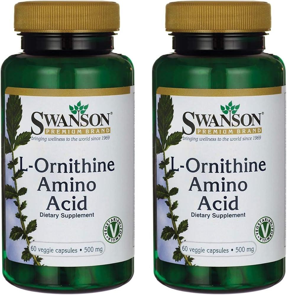 Swanson L-Ornithine Amino Acid 500 Milligrams 60 Veg Capsules 2 Pack