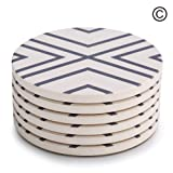 """Amazon Price History for:Lifver 6-Piece Absorbent Stone Coaster set, """"drink"""" spills coasters, Grey-Lines"""
