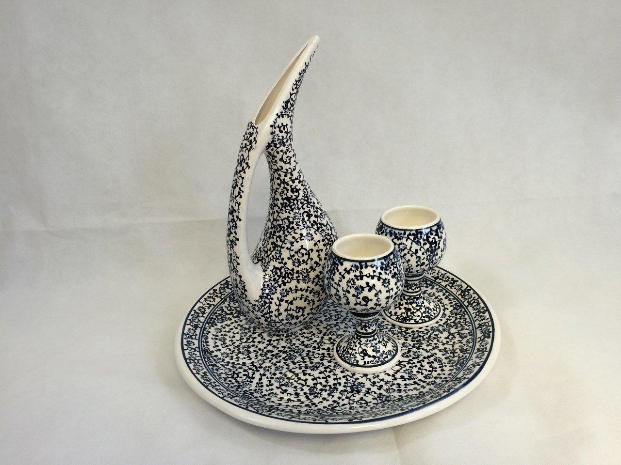 Handmade Ceramic Pelican Coffee/Tea/Wine Jug/Decanter Set: Pelican Jug 11.5''/29 cm; Plate 13''/33 cm; 2 cups (Grey)