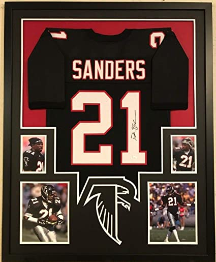 d8d796c5ee8 FRAMED DEION SANDERS AUTOGRAPHED SIGNED ATLANTA FALCONS JERSEY JSA COA at  Amazon s Sports Collectibles Store
