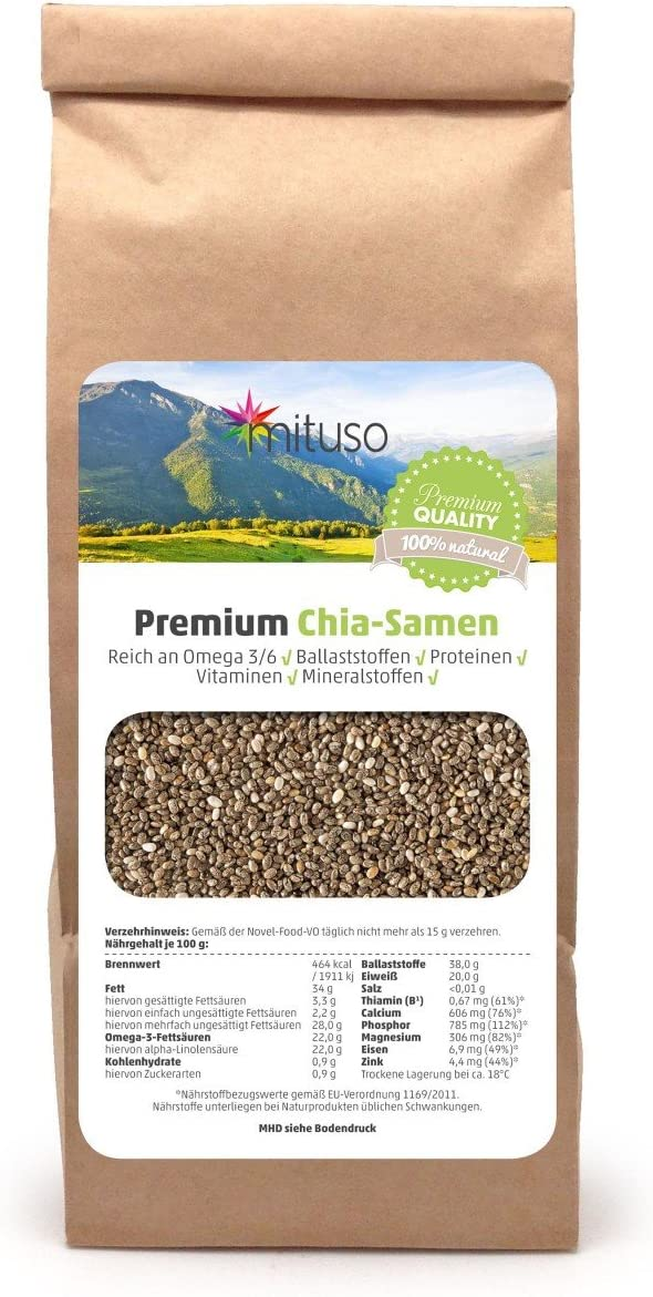 Mituso Semillas De Chia Mituso, 1 Paquete (1 X 500G): Amazon.es: Alimentación y bebidas