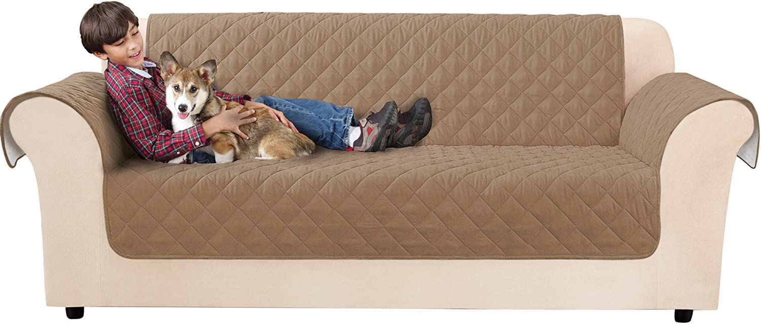 SureFit Non-Skid Sofa Furniture Cover - with Arms - Waterproof - Up to 76 Inches Wide - Machine Wash, Brown Clay
