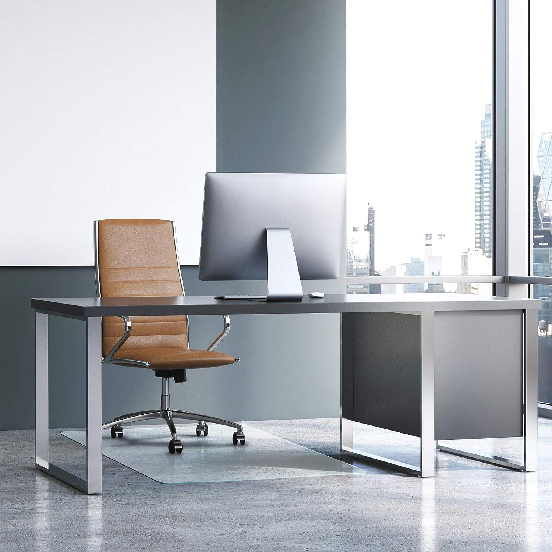 "Floortex Cleartex Glaciermat, Reinforced Glass Executive Chair Mat for Hard Floors and All Pile Carpets, 36"" x 48"", Crystal Clear (FC123648EG)"