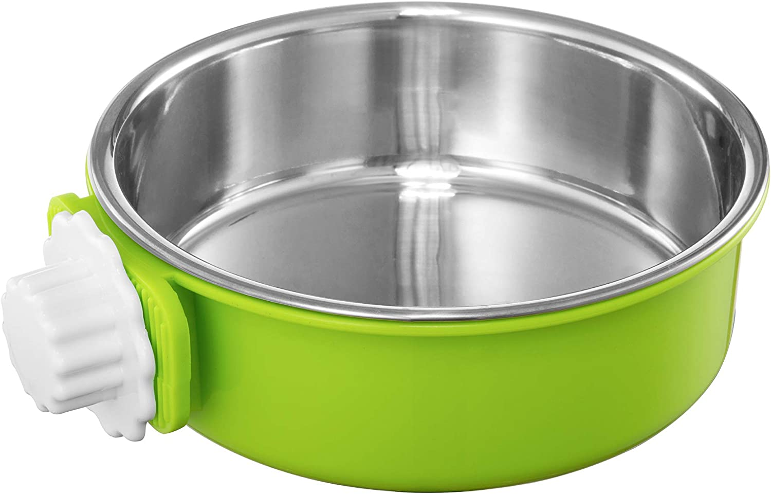 Flymoqi Crate Dog Bowl,Stainless Steel Removable Water Food Feeder Bows Cage Coop Cup for Dogs,Cats,Birds,Small Animals,20 oz