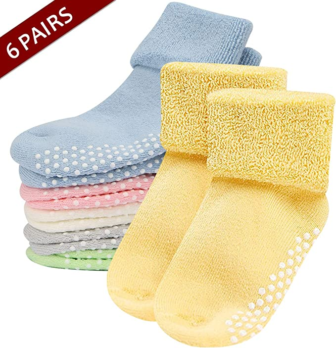 5 Pair Baby Boys Girls Socks Floor Socks Anti-Slip Thickened Warm Shoes Socks US