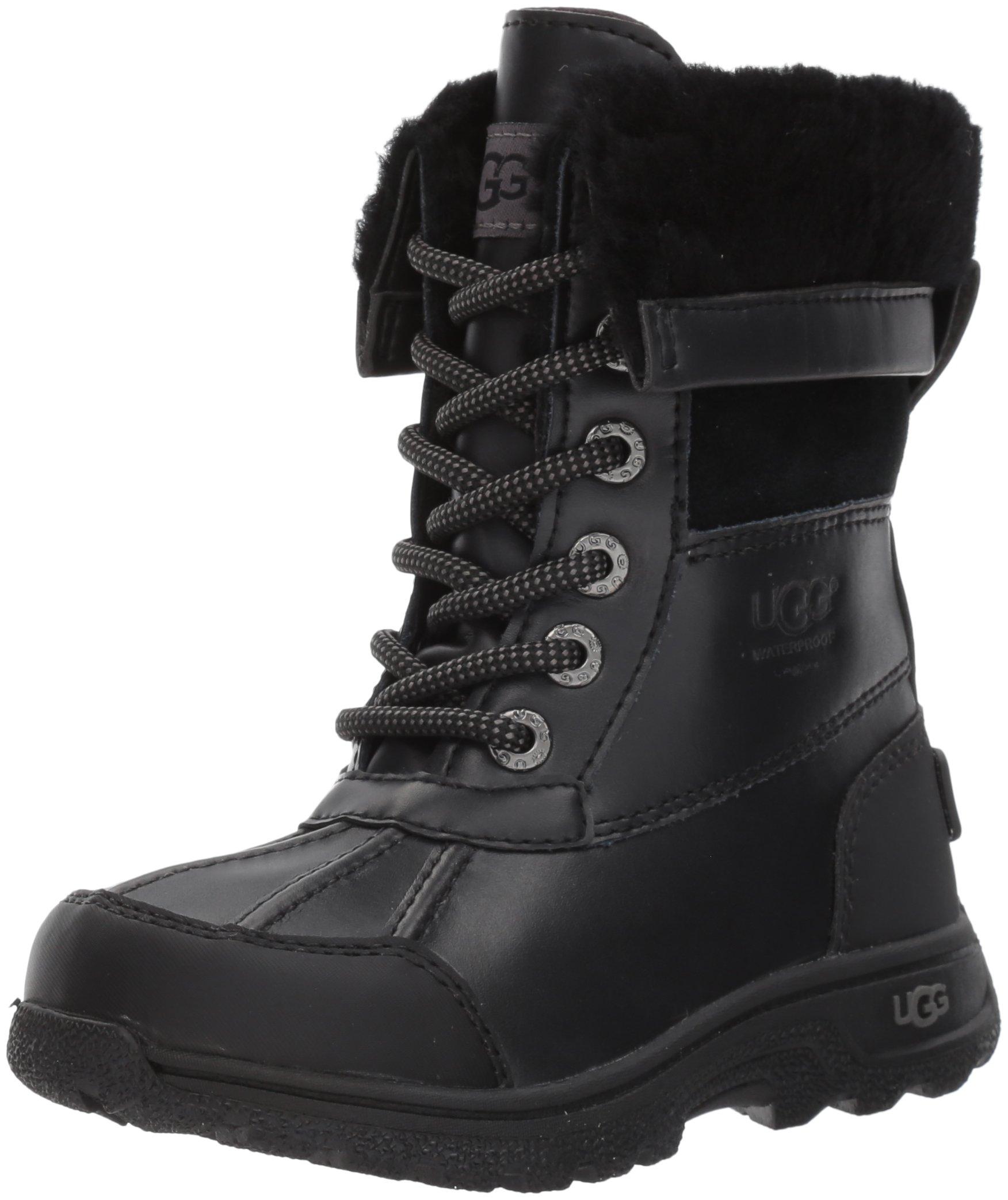 UGG Kids K Butte II Lace-up Boot, Black, 11 M US Little Kid