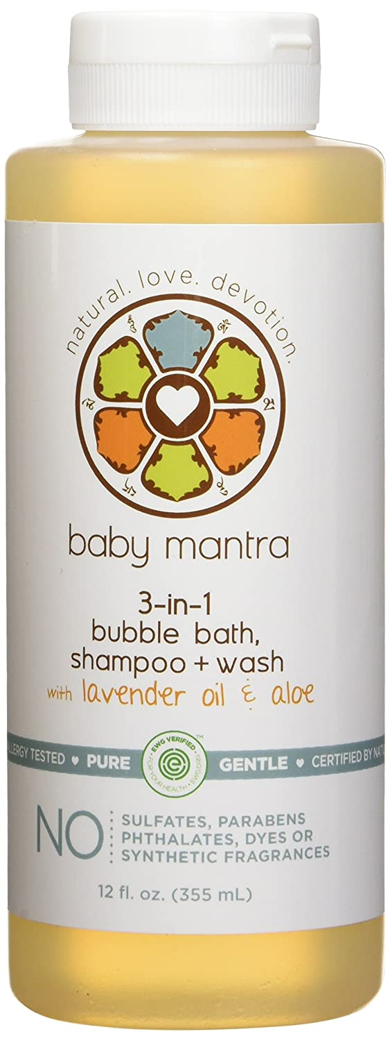 Baby Mantra 3-in-1 Natural Bubble Bath, Shampoo and Body Wash - Hypoallergenic Bath Bubbles for Infants, Toddlers, and Kids with Sensitive Skin, 12 Fluid Ounces Quidsi BYM-005