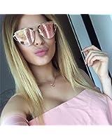 Large-Oversized-Cat-Eye-Sunglasses-Metal-Frame-Flat-Mirror-Lens-Women-Fashion Rose Gold Mirrored