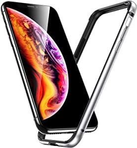 ESR Crown Metal Bumper Case for iPhone X, Metal Frame Armor with Soft Inner Bumper [Zero Signal Interference] [Raised Edge Protection] for iPhone X, Silver