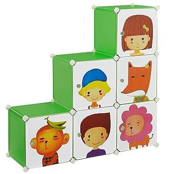 Steckregal kunststoff grün  neu.haus] Kinder Regalsystem DIY mit 6 Fächern Motiv [110x110cm ...