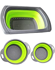 TOOGOO Foldable Colander Strainer Set Foldable Strainer Over The Sink Vegetable/Fruit Kitchen Strainer Tea Strainer with Pull-Out Handles 3 Pieces
