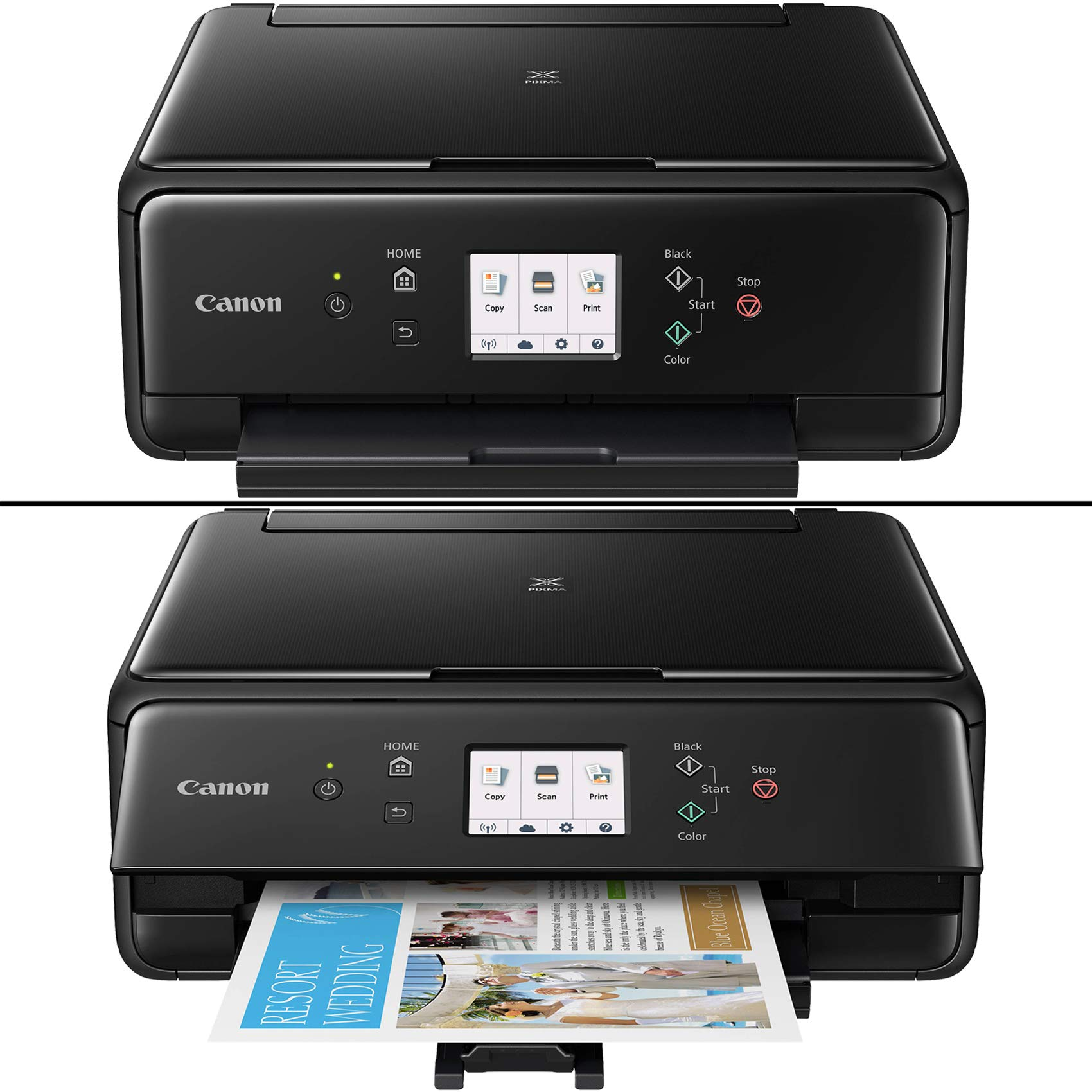 Canon Pixma TS6120 Wireless Inkjet All-in one Printer (Black) with Scan, Copy, Mobile Printing, Airprint & Google Cloud + Set of Ink Tanks + Photo Paper (100 Pack) + USB Printer Cable + HeroFiber by HeroFiber (Image #2)