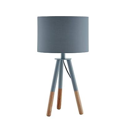 Lámpara de sobremesa SalesFever, lámpara de mesa, metal y madera gris-marrón, pantalla poliéster gris, lámpara de mesa de noche, interruptor de pie, ...