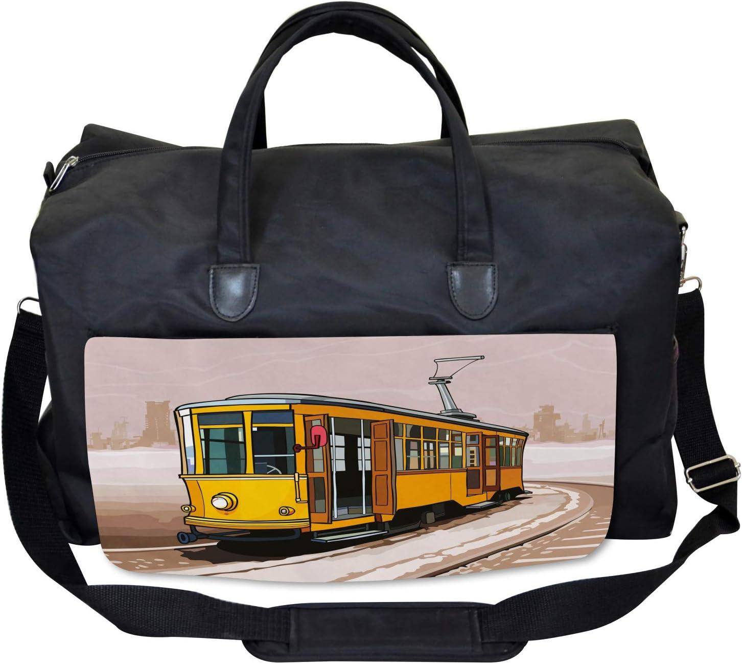 Train on Rail Roads Ambesonne Modern Gym Bag Large Weekender Carry-on
