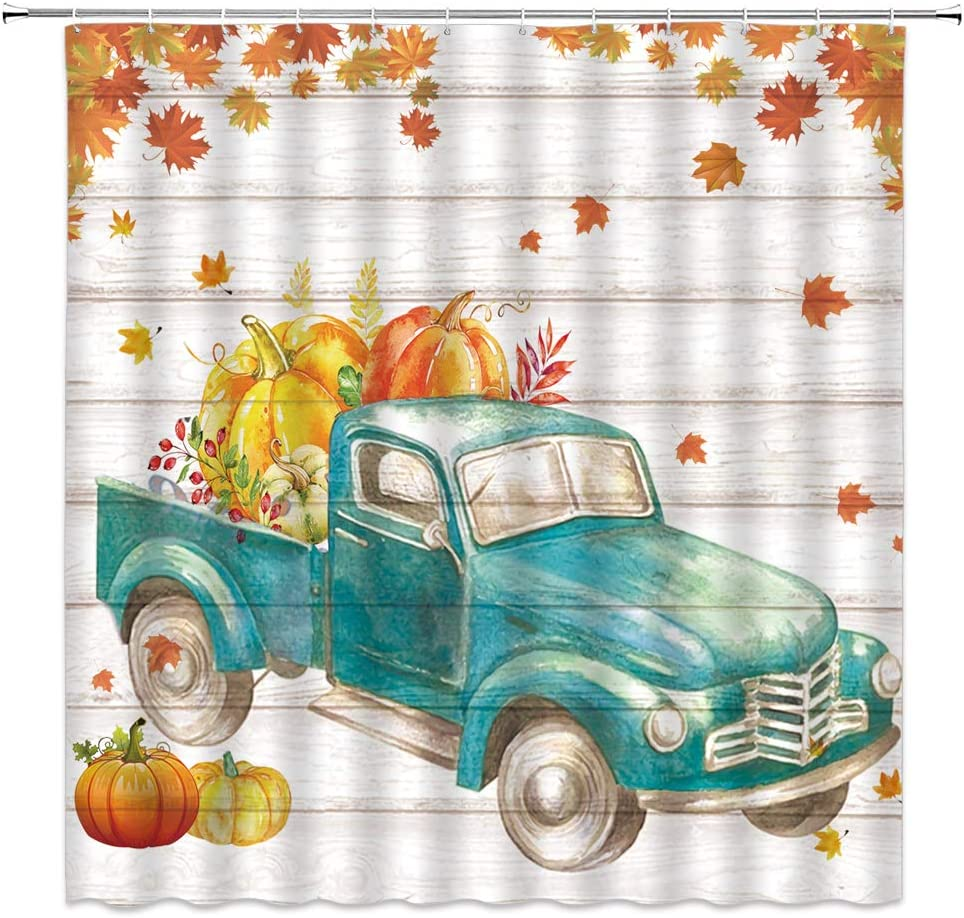 Fall Pumpkin Truck Shower Curtain Autumn Maple Leaves Antique Car Farmhouse Harvest Season Decor,Fabric Bathroom Set Hooks Included,Orange